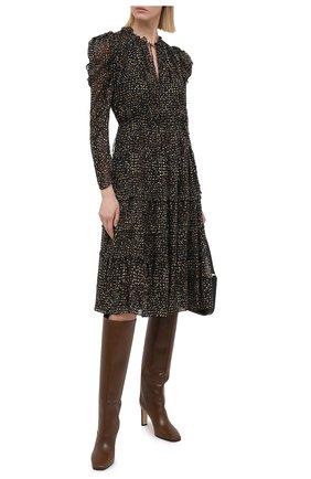Женское шелковое платье ULLA JOHNSON черно-белого цвета, арт. FA200124 | Фото 2