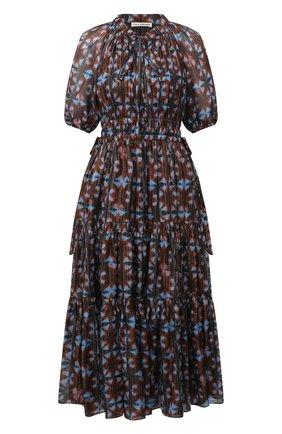 Женское шелковое платье ULLA JOHNSON коричневого цвета, арт. FA200122 | Фото 1