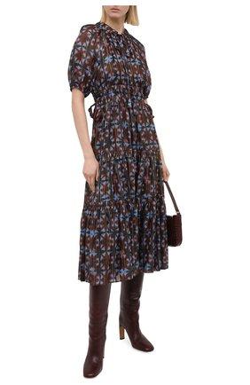 Женское шелковое платье ULLA JOHNSON коричневого цвета, арт. FA200122 | Фото 2