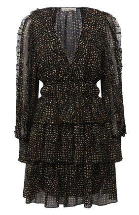 Женское шелковое платье ULLA JOHNSON черно-белого цвета, арт. FA200116 | Фото 1