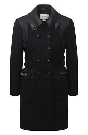 Женское шерстяное пальто GUCCI черного цвета, арт. 636939/Z8ALN   Фото 1 (Длина (верхняя одежда): До середины бедра; Материал внешний: Шерсть; Материал подклада: Вискоза; Рукава: Длинные; 1-2-бортные: Двубортные; Стили: Гламурный)