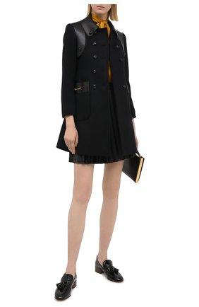 Женское шерстяное пальто GUCCI черного цвета, арт. 636939/Z8ALN   Фото 2