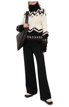 Женский шерстяной свитер SACAI бежевого цвета, арт. 20-05231 | Фото 2