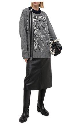 Женский шерстяной кардиган SACAI серого цвета, арт. 20-02341M | Фото 2