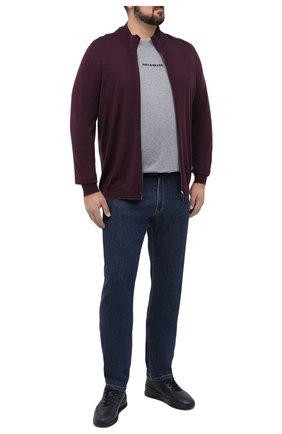 Мужская шерстяной кардиган SVEVO фиолетового цвета, арт. 0918/9XSA20/MP09 | Фото 2