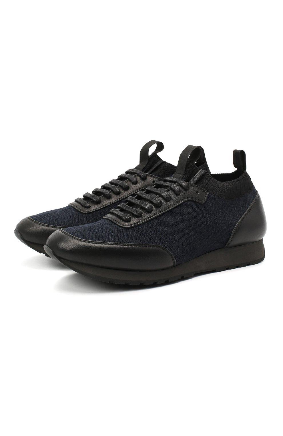 Мужские комбинированные кроссовки BRIONI темно-синего цвета, арт. QHL10L/09714   Фото 1