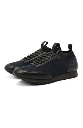 Мужские комбинированные кроссовки BRIONI темно-синего цвета, арт. QHL10L/09714 | Фото 1