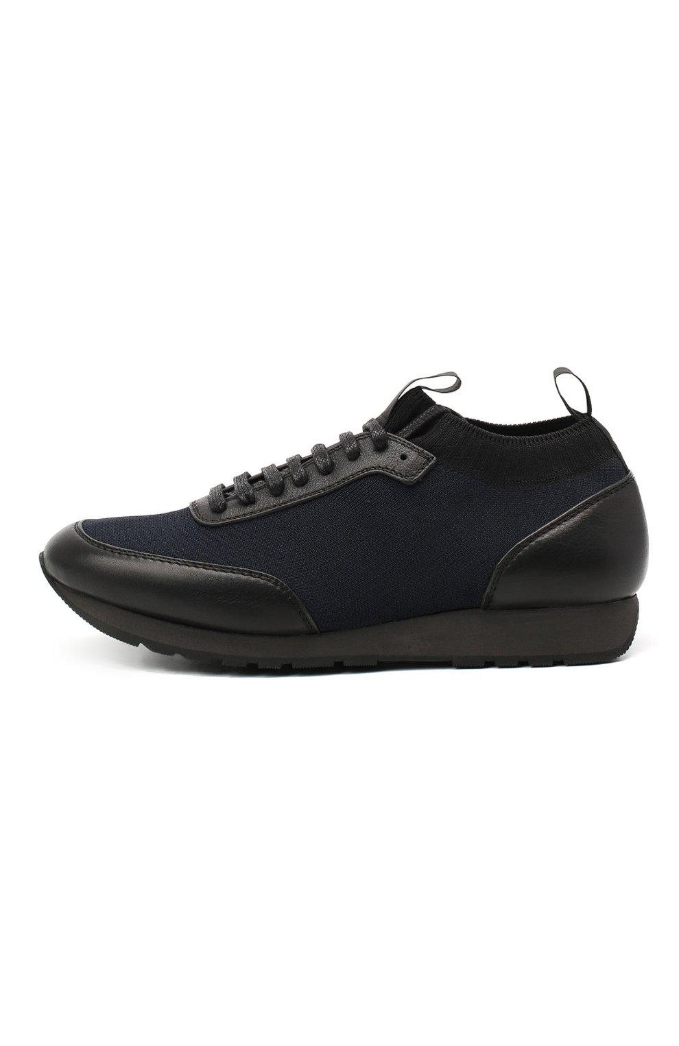 Мужские комбинированные кроссовки BRIONI темно-синего цвета, арт. QHL10L/09714   Фото 3