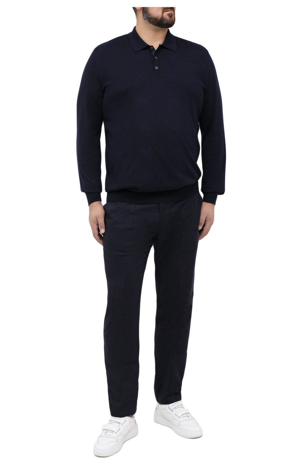 Мужское поло из кашемира и шелка ZILLI темно-синего цвета, арт. MBU-PB098-VASH1/ML01 | Фото 2