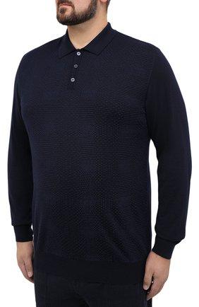 Мужское поло из кашемира и шелка ZILLI темно-синего цвета, арт. MBU-PB098-VASH1/ML01 | Фото 3