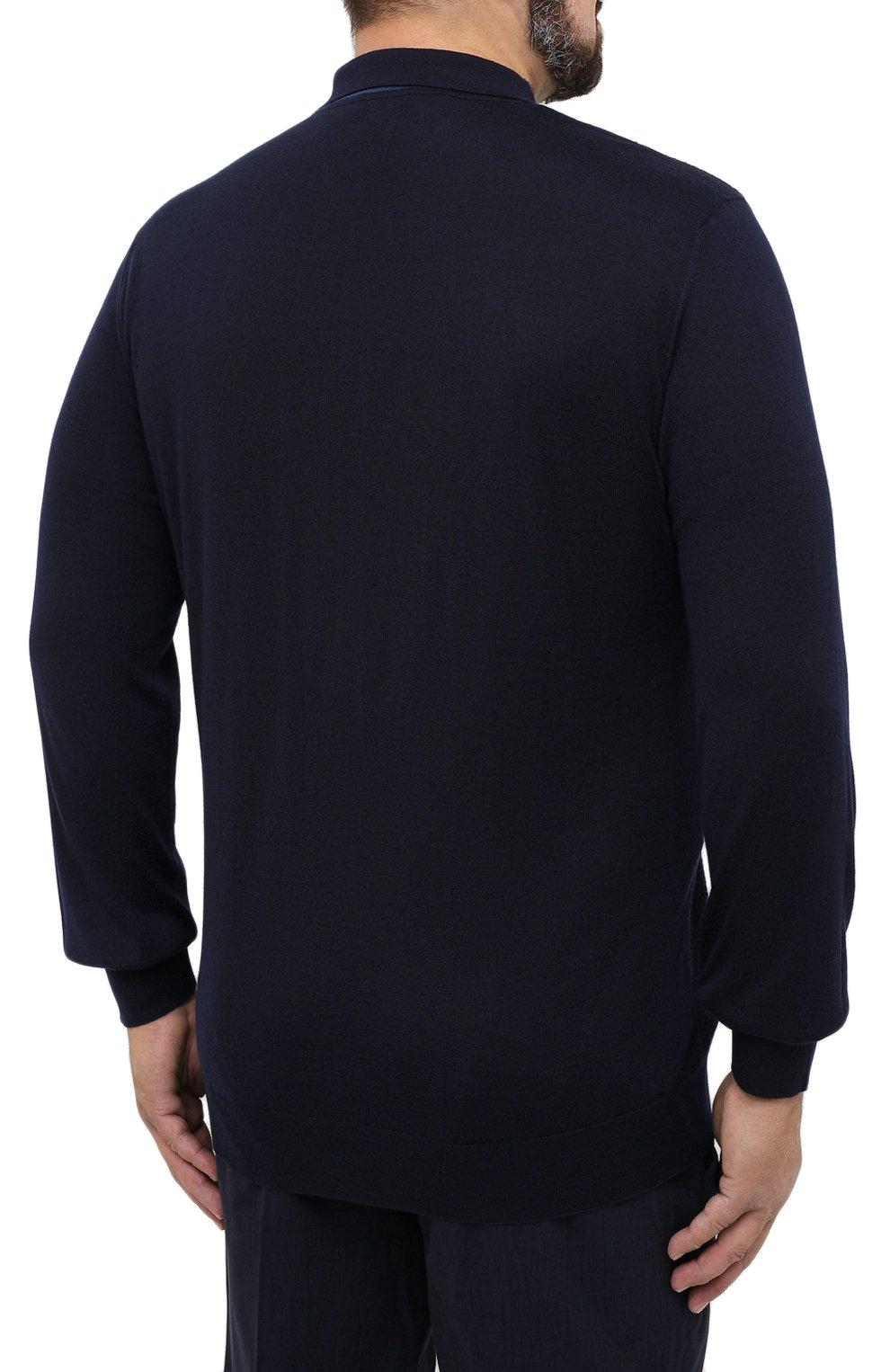 Мужское поло из кашемира и шелка ZILLI темно-синего цвета, арт. MBU-PB098-VASH1/ML01 | Фото 4