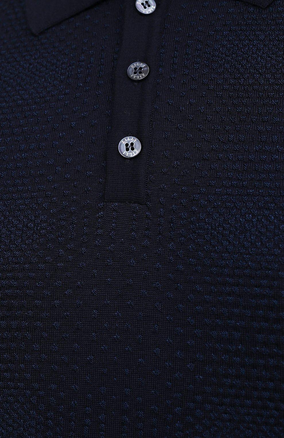 Мужское поло из кашемира и шелка ZILLI темно-синего цвета, арт. MBU-PB098-VASH1/ML01 | Фото 5