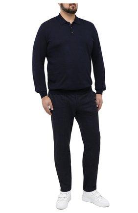 Мужской брюки из хлопка и кашемира LUCIANO BARBERA темно-синего цвета, арт. 114304/45024/58-62   Фото 2