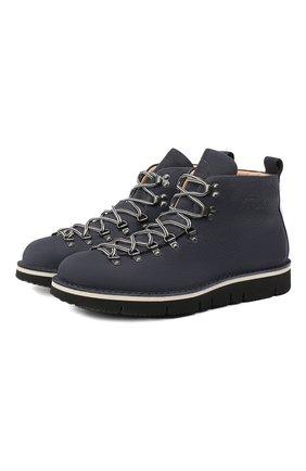 Мужские кожаные ботинки m120 FRACAP темно-синего цвета, арт. M120/NABUK/CALFSKIN/BRUNITI/CUT | Фото 1