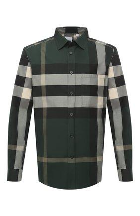 Мужская хлопковая рубашка BURBERRY темно-зеленого цвета, арт. 8033818 | Фото 1