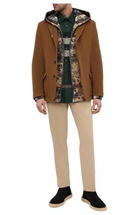 Мужская хлопковая рубашка BURBERRY темно-зеленого цвета, арт. 8033818 | Фото 2