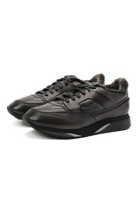 Мужские кожаные кроссовки SANTONI темно-серого цвета, арт. MBEN21203NGGPG0DG62 | Фото 1