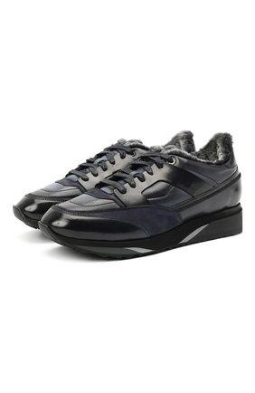 Мужские кожаные кроссовки SANTONI темно-синего цвета, арт. MBEN21203NGGPG0DU55 | Фото 1