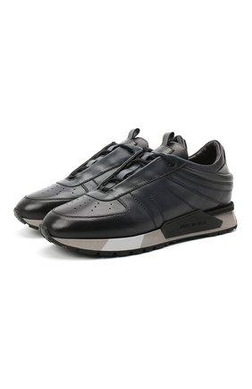Мужские кожаные кроссовки SANTONI темно-синего цвета, арт. MSAM21413GGNRBDNU60 | Фото 1