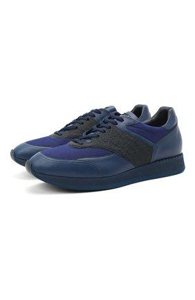 Мужские кроссовки с отделкой из кожи каймана ZILLI синего цвета, арт. MDU-T133/006/CCR0 | Фото 1