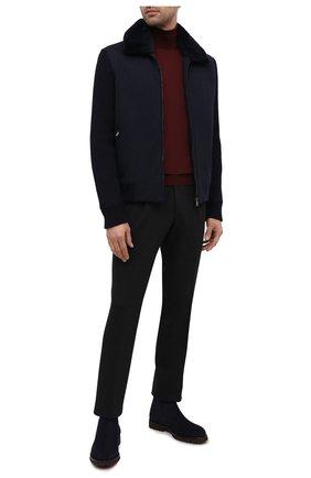 Мужская куртка с меховой отделкой CORNELIANI синего цвета, арт. 86LM46-9820193/00   Фото 2