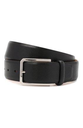 Мужской кожаный ремень SANTONI черного цвета, арт. CM40NS003C07EKICN01 | Фото 1
