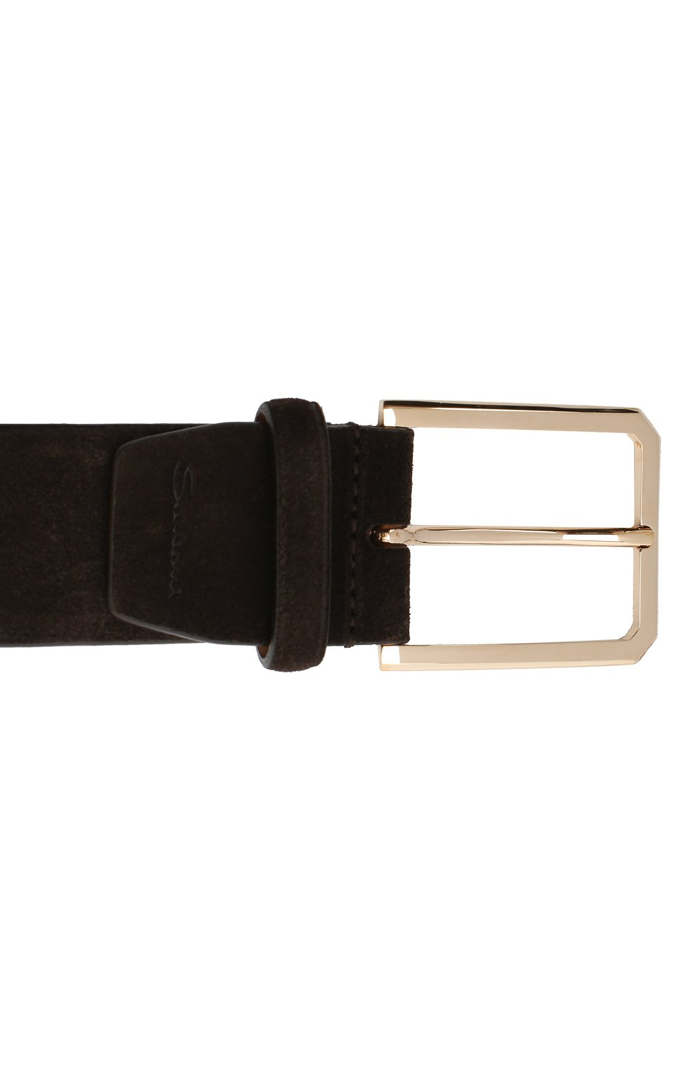 Мужской замшевый ремень SANTONI темно-коричневого цвета, арт. CM40NS003C07H2SNT50 | Фото 3