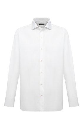 Мужская хлопковая сорочка TOM FORD белого цвета, арт. 8FT00094S3AX | Фото 1 (Рукава: Длинные; Материал внешний: Хлопок; Длина (для топов): Стандартные; Рубашки М: Slim Fit; Случай: Формальный; Стили: Классический)
