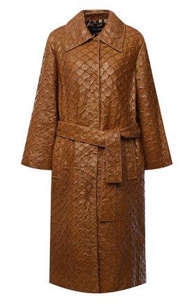 Женское пальто из кожи арапайма DOLCE & GABBANA коричневого цвета, арт. F0AF0L/HULHH/AGIG | Фото 1