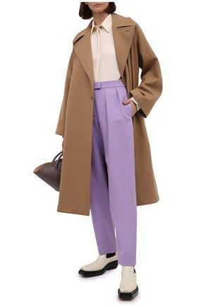 Женские шерстяные брюки BOSS сиреневого цвета, арт. 50448952 | Фото 2