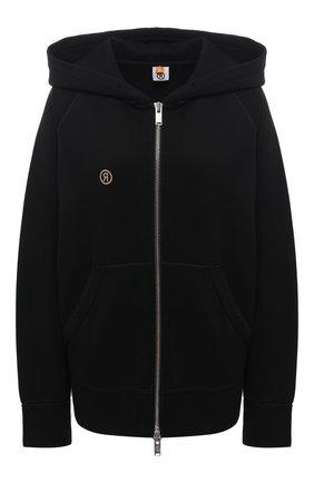 Женский хлопковая толстовка TOSKVA черного цвета, арт. ZIP hoodie-HZ.U.001-W21-F5-900-100   Фото 1