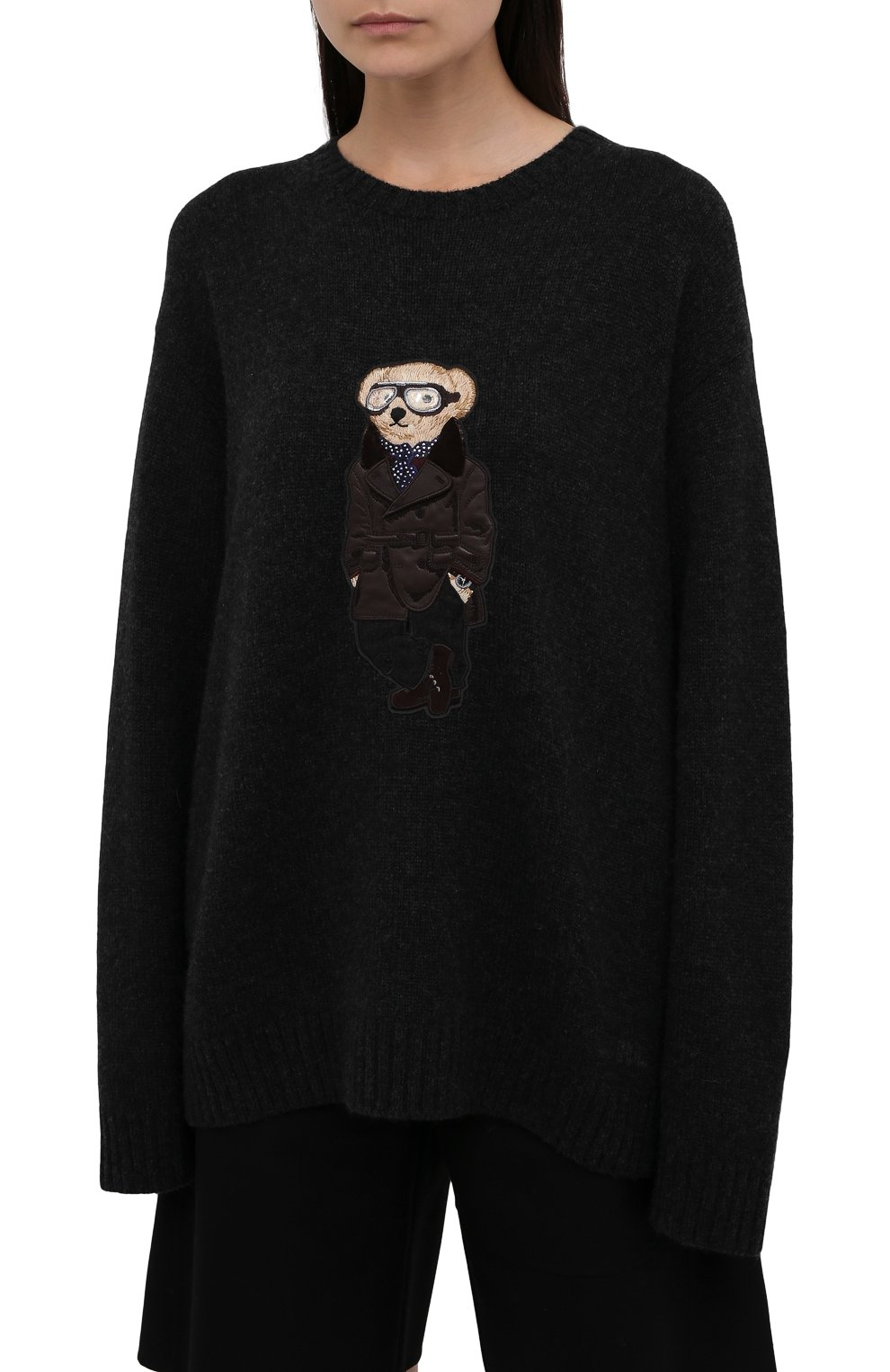 Женский кашемировый пуловер RALPH LAUREN темно-серого цвета, арт. 293835493 | Фото 3