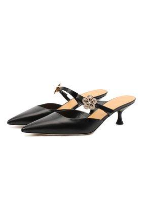 Женские кожаные мюли LOEWE черного цвета, арт. L814S01X14   Фото 1