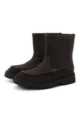 Женские замшевые ботинки KENZO серого цвета, арт. FA62BT017L58 | Фото 1