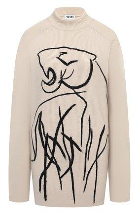 Женский шерстяной пуловер KENZO кремвого цвета, арт. FA65MPU523RA | Фото 1