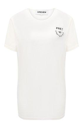 Женская хлопковая футболка 5PREVIEW белого цвета, арт. X423 | Фото 1