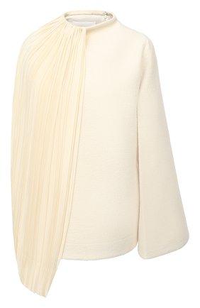 Женский пуловер из хлопка и шерсти JIL SANDER кремвого цвета, арт. JSWR700301-WR257308 | Фото 1