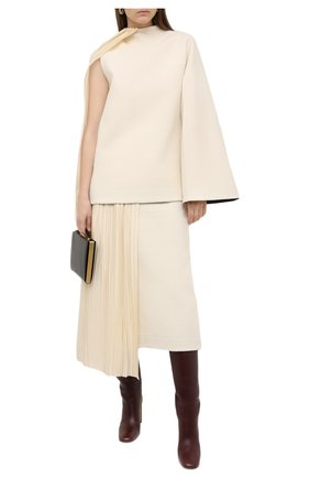 Женский пуловер из хлопка и шерсти JIL SANDER кремвого цвета, арт. JSWR700301-WR257308 | Фото 2