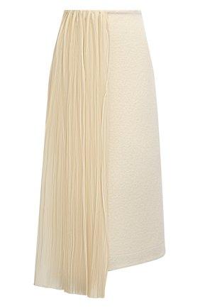 Женская юбка из хлопка и шерсти JIL SANDER кремвого цвета, арт. JSWR720302-WR257308 | Фото 1