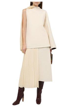 Женская юбка из хлопка и шерсти JIL SANDER кремвого цвета, арт. JSWR720302-WR257308 | Фото 2