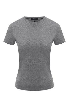 Женская хлопковая футболка THEORY серого цвета, арт. I1124510 | Фото 1