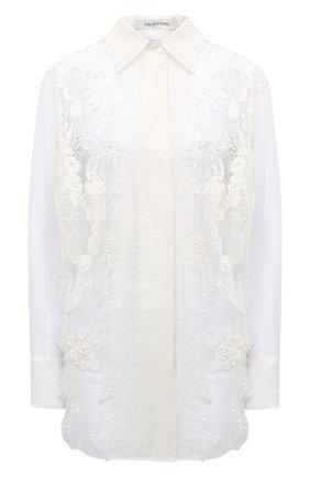 Женская шелковая блузка VALENTINO белого цвета, арт. UB0AB1S11C8 | Фото 1
