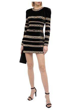 Женское платье BALMAIN черного цвета, арт. UF06378/P059 | Фото 2