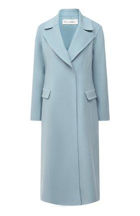 Женское шерстяное пальто OSCAR DE LA RENTA голубого цвета, арт. 20PN809DBW | Фото 1