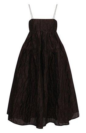 Женское платье из льна и шелка CECILIE BAHNSEN коричневого цвета, арт. AW20-0022 | Фото 1