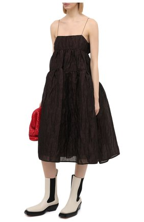 Женское платье из льна и шелка CECILIE BAHNSEN коричневого цвета, арт. AW20-0022 | Фото 2