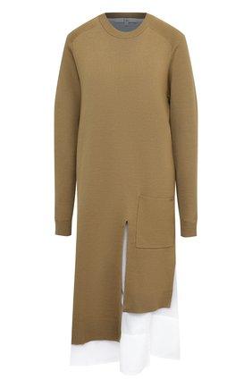 Женское шерстяное платье TIBI хаки цвета, арт. F120MW6310 | Фото 1 (Длина Ж (юбки, платья, шорты): Миди; Материал внешний: Шерсть; Материал подклада: Хлопок; Рукава: Длинные; Женское Кросс-КТ: Платье-одежда; Случай: Повседневный; Стили: Кэжуэл; Кросс-КТ: Трикотаж)