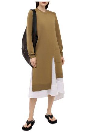 Женское шерстяное платье TIBI хаки цвета, арт. F120MW6310 | Фото 2 (Длина Ж (юбки, платья, шорты): Миди; Материал внешний: Шерсть; Материал подклада: Хлопок; Рукава: Длинные; Женское Кросс-КТ: Платье-одежда; Случай: Повседневный; Стили: Кэжуэл; Кросс-КТ: Трикотаж)