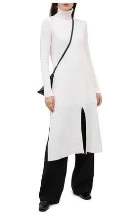 Женское платье TIBI белого цвета, арт. F120F06307   Фото 2 (Длина Ж (юбки, платья, шорты): Миди; Рукава: Длинные; Материал внешний: Шерсть, Синтетический материал; Женское Кросс-КТ: Платье-одежда; Случай: Повседневный; Стили: Кэжуэл)