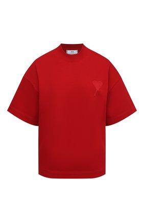 Женская хлопковая футболка AMI красного цвета, арт. H20FJ133.79 | Фото 1